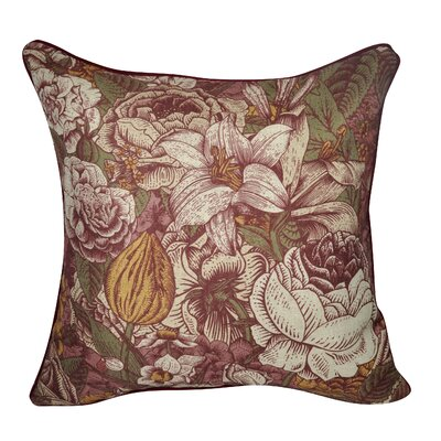 Grand Boquet Throw Pillow Color: Dark Red