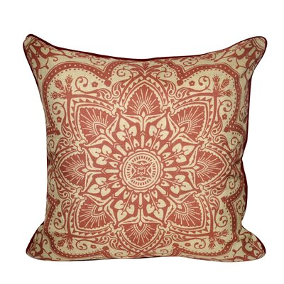 Batique Flower Throw Pillow Color: Red