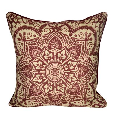Batique Flower Throw Pillow Color: Dark Red