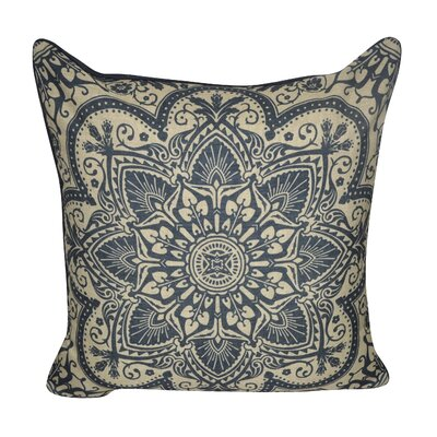 Batique Flower Throw Pillow Color: Dark Blue