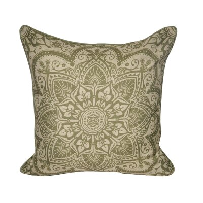 Batique Flower Throw Pillow Color: Olive
