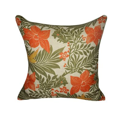 Flower Throw Pillow Color: Green