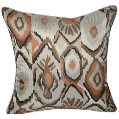 Satin Southwest Ikat Polyster Throw Pillow Color: Brown
