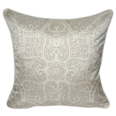 Satin Baroque Polyster Throw Pillow Color: Tan