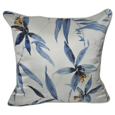 Satin Wild Flower Polyster Throw Pillow Color: Blue
