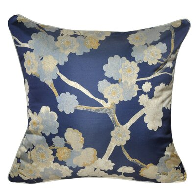 Satin Cherry Blossoms Polyster Throw Pillow Color: Navy