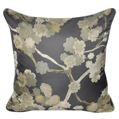 Satin Cherry Blossoms Polyster Throw Pillow Color: Sage