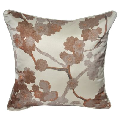Satin Cherry Blossoms Polyster Throw Pillow Color: Brown