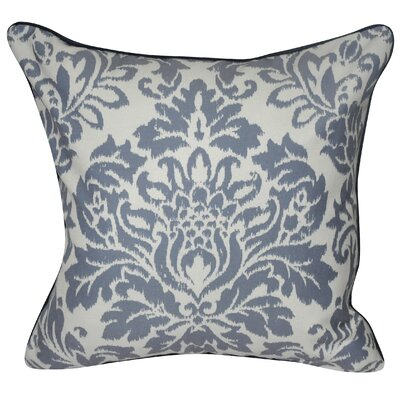 Baroque Damask Polyster Throw Pillow Color: Slate Blue