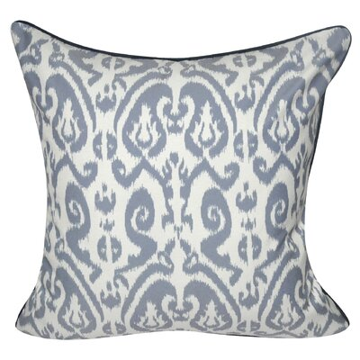 Ikat Damask Polyster Throw Pillow Color: Slate Blue