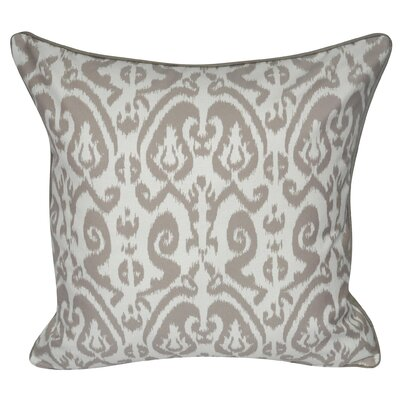 Ikat Damask Polyster Throw Pillow Color: Taupe