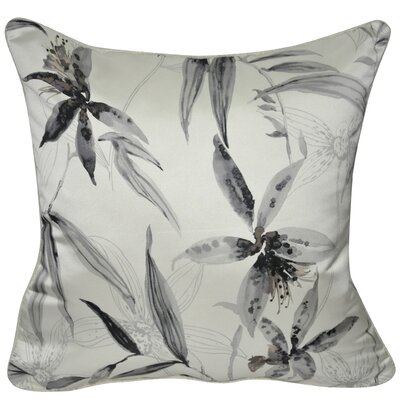 Satin Wild Flower Polyster Throw Pillow Color: Gray