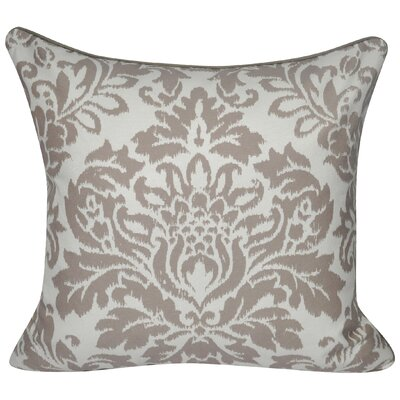 Baroque Damask Polyster Throw Pillow Color: Taupe
