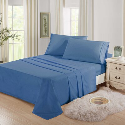 Cascio Microfiber 4 Piece Sheet Set Size: Full, Color: Blue
