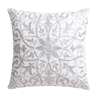 Baroque Floral 100% Cotton Throw Pillow Color: Silver
