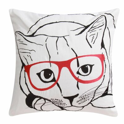 Cat with Glasses Cotton Throw Pillow