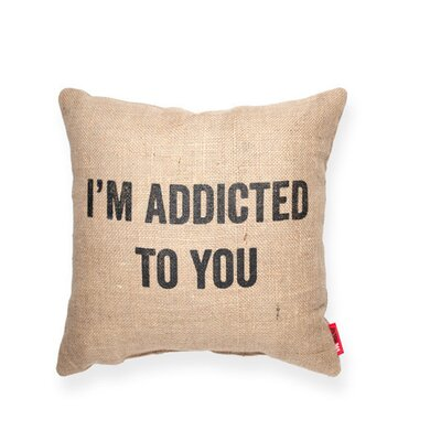 Expressive Addicted To You Jute Burlap Throw Pillow (Set of 2)