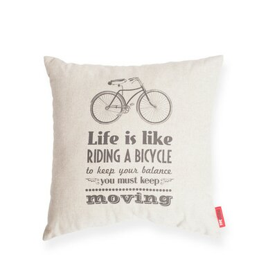 Luxury Bicycle Life Cotton Throw Pillow Color: Oatmeal/Natural, Size: 17H x 17W