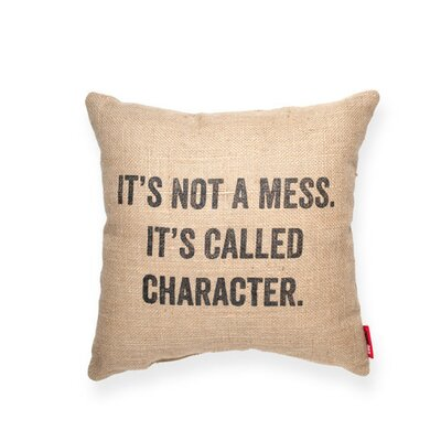 Expressive Its Not a Mess Burlap Jute Throw Pillow