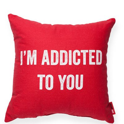 Expressive Addicted to You Linen Throw Pillow Color: Red