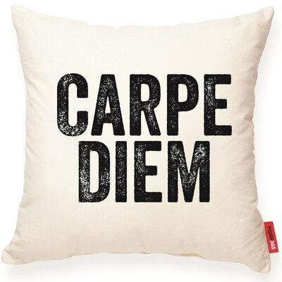 Expressive Carpe Diem Cotton Throw Pillow
