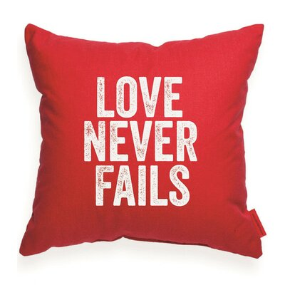 Expressive Love Never Fails Throw Pillow Color: Red, Size: 18H x 18W, Fill material: Eco-fill