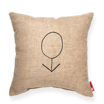Expressive Male Decorative Burlap Throw Pillow