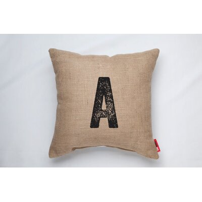 Alphabet Letter A Decorative Burlap Throw Pillow