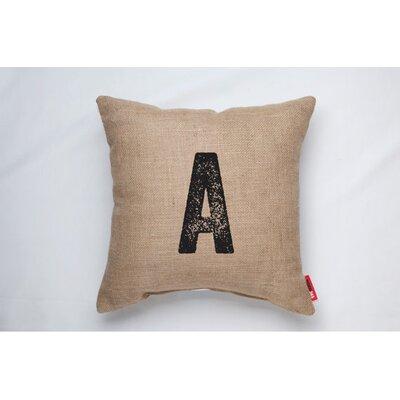 Dolton Letter A Decorative Burlap Throw Pillow