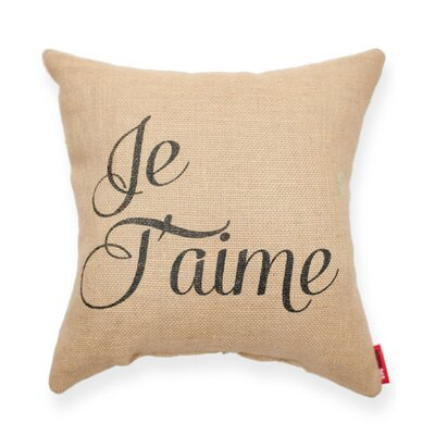 Expressive Je Taime Decorative Burlap Throw Pillow