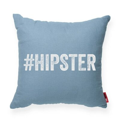 Expressive #Hipster Decorative Linen Throw Pillow Size: Large, Color: Blue