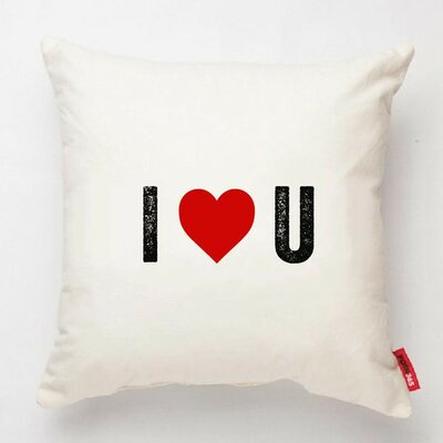 Expressive I Heart U Decorative Cotton Throw Pillow Color: White Cotton