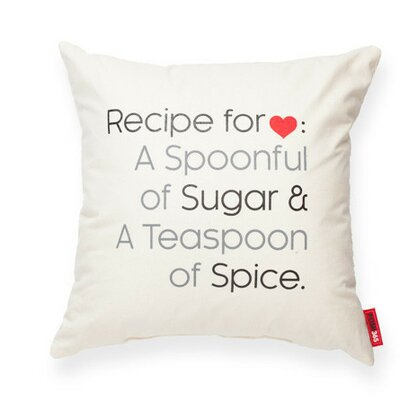 Expressive Recipe For Love Decorative Cotton Throw Pillow