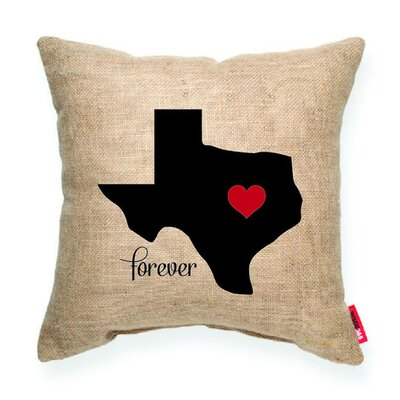 Expressive Heart Texas Decorative Burlap Throw Pillow