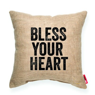 Expressive Bless Your Heart Decorative Burlap Throw Pillow