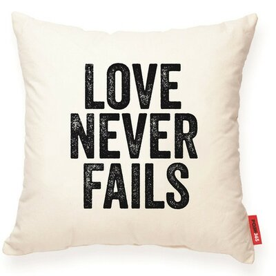 Expressive Love Never Fails Decorative Cotton Throw Pillow