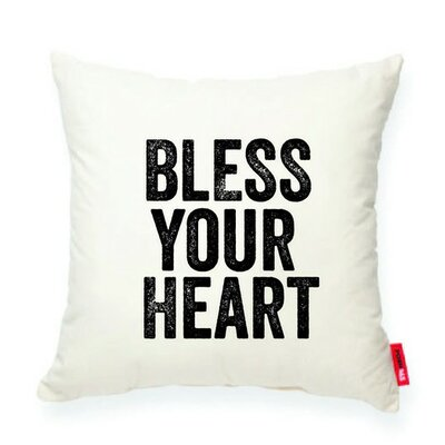Expressive Bless Your Heart Decorative Cotton Throw Pillow