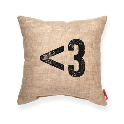 Symbol  3 Heart Decorative Burlap Throw Pillow