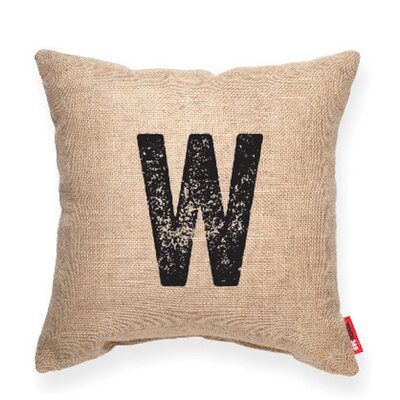 Expressive W Burlap Decorative Pillow