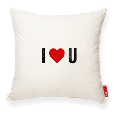 Expressive I Heart U Decorative Cotton Throw Pillow Color: Cream Cotton