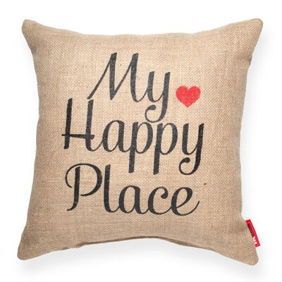 Expressive My Happy Place Burlap Jute Throw Pillow