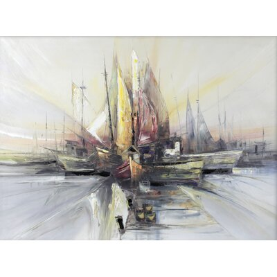 Harbor At Dawn by David Vasquez Painting Print on Wrapped Canvas