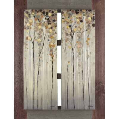 Twins Tree by I. Kite. Framed Painting Print on Wrapped Canvas
