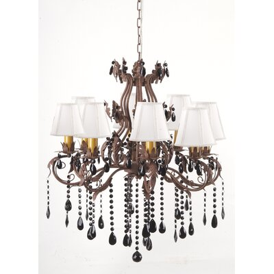 Floral and Leaf 8-Light Shaded Chandelier