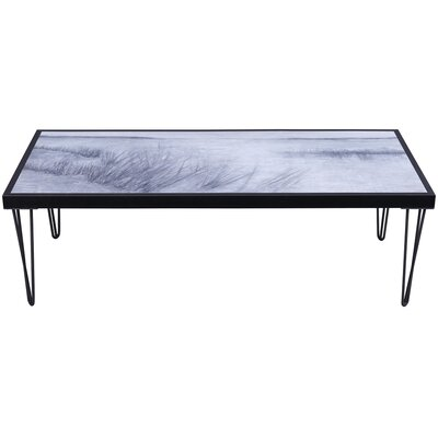Rosio Beach Side Artwork Top Wood Coffee Table