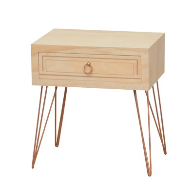 Aguilar Pine Wood Veneer Metal Legs End Table with Storage