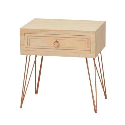 Aguilar Pine Wood Veneer Metal Legs End Table with Storage