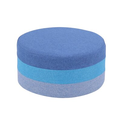 Reber Round Fabric Foot Ottoman Upholstery: Blue