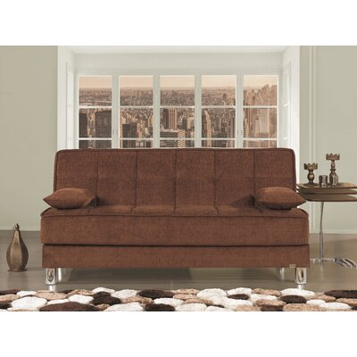 Smart Fit Futon Convertible Sofa Upholstery: Brown