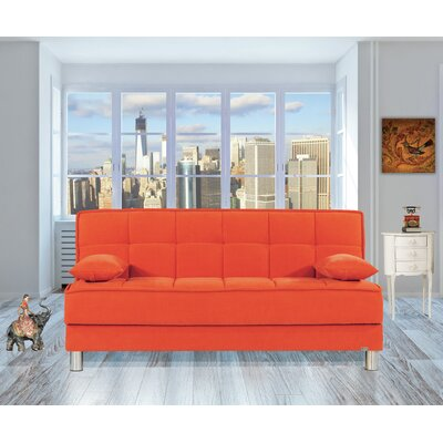 Smart Fit Futon Convertible Sofa Upholstery: Orange
